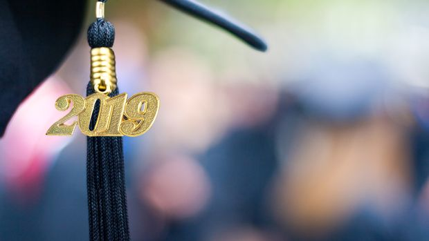 Closeup of a 2019 Graduation Tassel at a graduation ceremony.