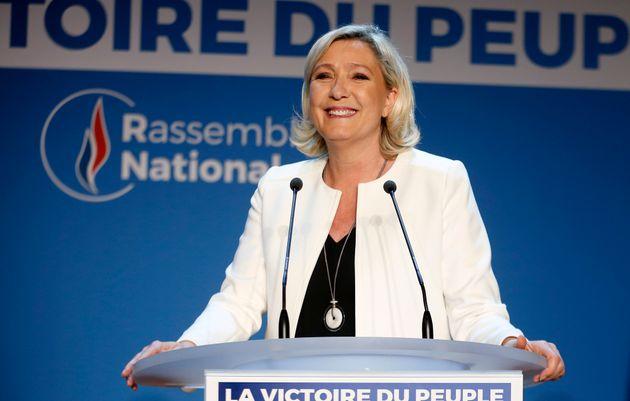 Marine Le Pen, ce 26 mai, au QG du Rassemblement
