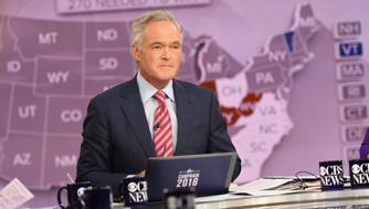 NEW YORK - NOVEMBER 8: CBS EVENING NEWS Anchor Scott Pelley anchors CBS News' Campaign: 2016 Election Night  coverage on Nov. 8 at the CBS Broadcast Center in New York City. (Photo by Michele Crowe/CBS via Getty Images)