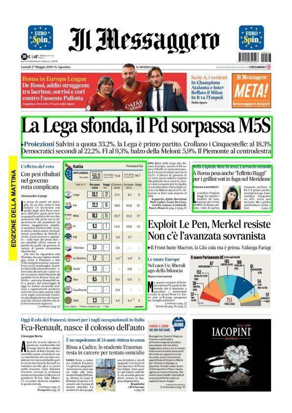La vittoria di Salvini alle Europee 2019 nelle prime pagine dei quotidiani