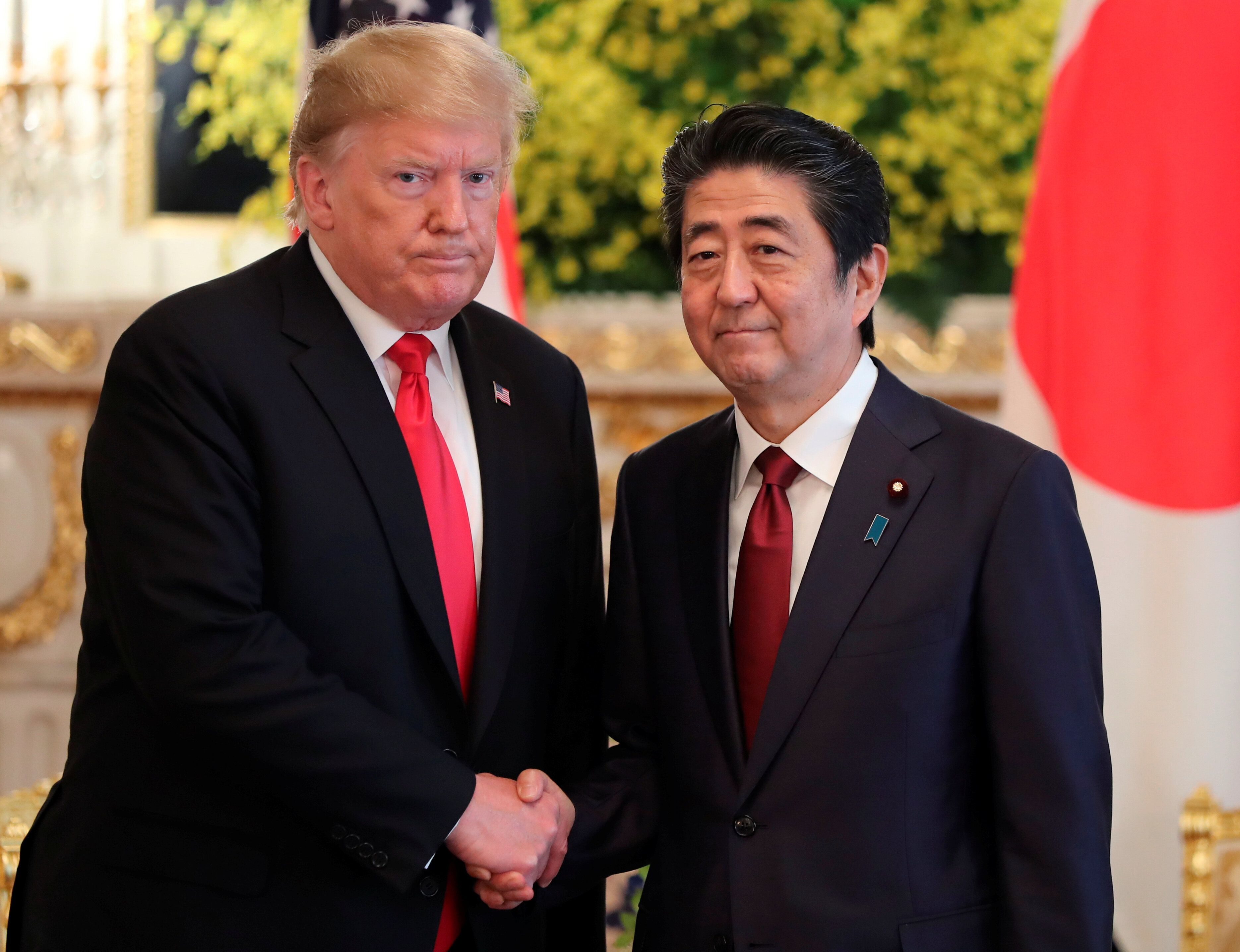 U.S. President Donald Trump meets with Japanese Prime Minister Shinzo Abe at Akasaka Palace, Japanese state guest house in Tokyo May 27, 2019. Eugene Hoshiko/Pool via Reuters