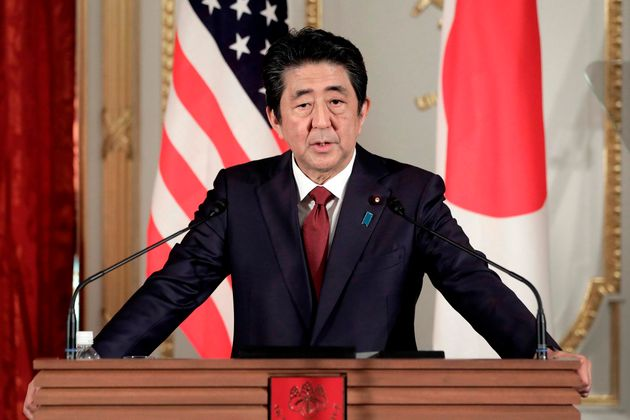 日米首脳会談の内容について共同会見で語る安倍晋三首相=5月27日