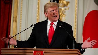 President Donald Trump speaks during a news conference with Japanese Prime Minister Shinzo Abe, at Akasaka Palace, Monday, May 27, 2019, in Tokyo. (AP Photo/Evan Vucci)