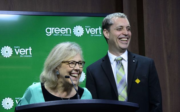 Green Party Leader Elizabeth May introduces newly elected Green MP Paul Manly, during a press conference...