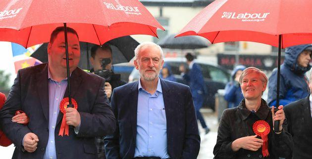 Jeremy Corbyn et ses amis travaillistes pendant la campagne des