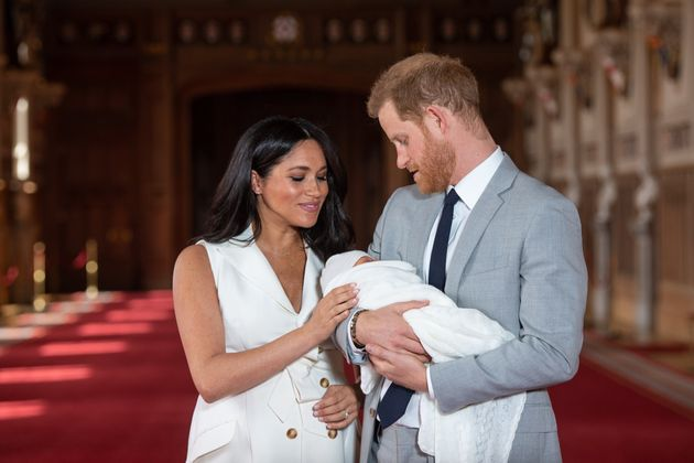 Meghan Markle and Prince Harry show off baby Archie on May 8, 2019. Meghan is probably counting the minutes...