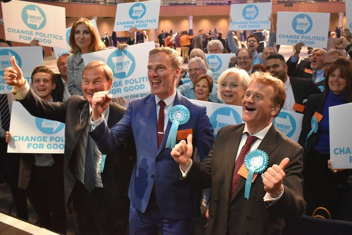 <strong>The Brexit Party's three winning candidates in the West Midlands region - Rupert Lowe, Martin Daubney and Andrew Kerr - pose for pictures alongside supporters at Birmingham's International Convention Centre.</strong>