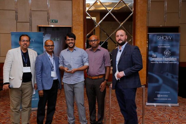 Arvind Badrinarayanan (middle) and Sumukh Mysore (second from right) aka Smokey the Ghost, of Muse Diagnostics,...
