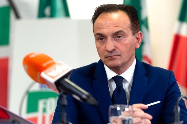 TURIN, ITALY - 2019/05/23: Alberto Cirio attends a press conference of Silvio Berlusconi in Turin during...