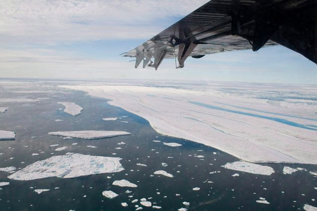 A chunk of ice is shown drifting after it separated from the Ward Hunt Ice Shelf off the north coast...