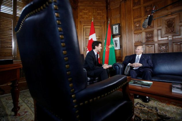 Canada's Prime Minister Justin Trudeau (L) meets with the Aga Khan, spiritual leader of Ismaili Muslims, in Trudeau's office on Parliament Hill in Ottawa, May 17, 2016.