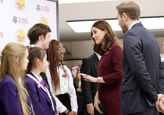 The Duchess of Cambridge meets pupils from The Bridge Academy at the annual Place2Be School Leaders Forum at UBS London.