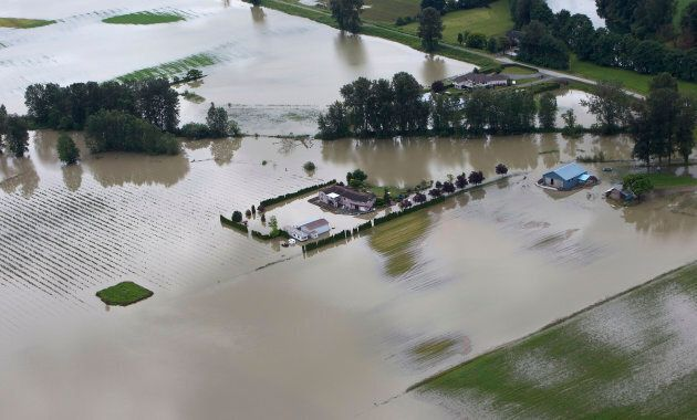A house ended up surrounded by water after the Fraser River burst its banks in Chilliwack, B.C. on June...