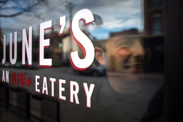 Chef Matt Basile poses for a portrait at the pop up restaurant June's HIV+ Eatery in Toronto, Tues. Nov. 7.