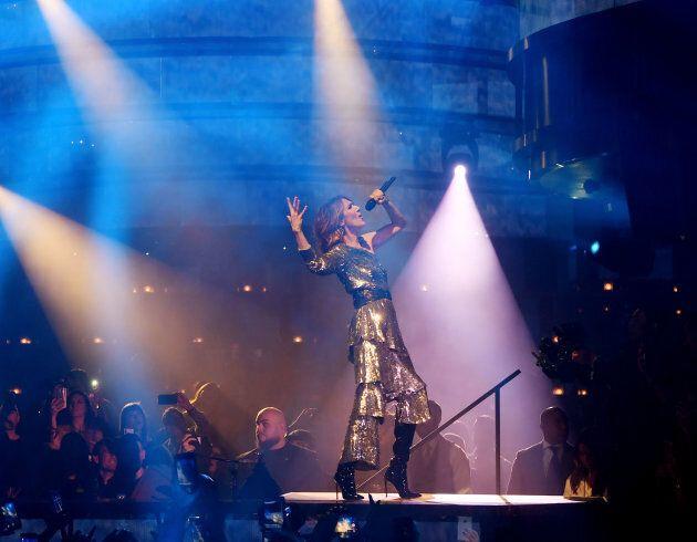 Céline Dion performing at OMNIA Nightclub on Nov. 8, 2017 in Las Vegas, Nevada.