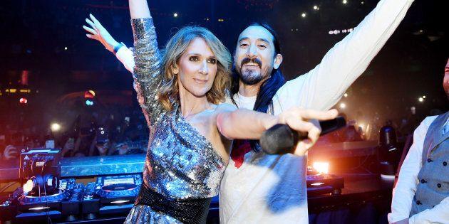 Céline Dion and Steve Aoki at OMNIA Nightclub in Caesars Palace on Nov. 8, 2017 in Las Vegas, Nevada.