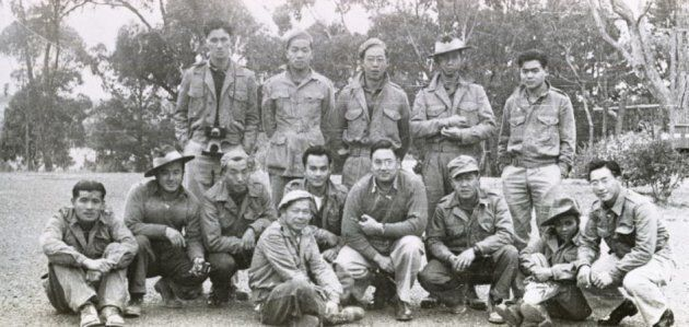 A 1944 photograph of the first 13 members of the Force 136 recruits, also known as the Operation Oblivion group.