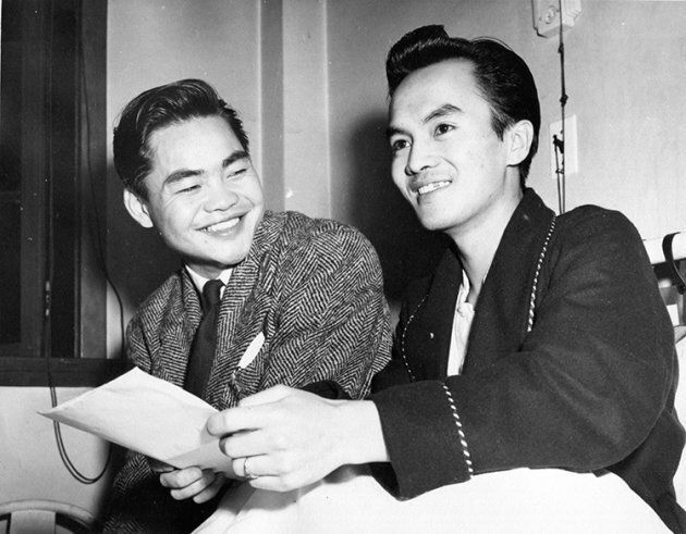 Louie King and Norman Low in the hospital shortly after September 1946, when Low was recovering from complications due to malaria.