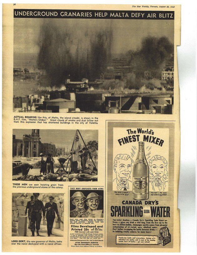 The Star Weekly from 1942 showed photos like the bombings in Valetta, Malta and this Canada Dry