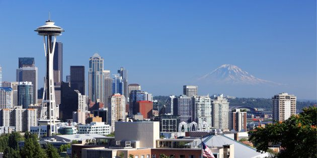 Downtown Seattle with Mount Rainier looming in the background. Foreign buyers are flocking to the city...
