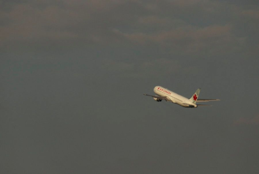 An Air Canada airplane takes off at Toronto Pearson International Airport on May 13,