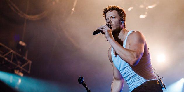 Imagine Dragons singer Dan Reynolds performing in Sao Paulo, Brazil on March