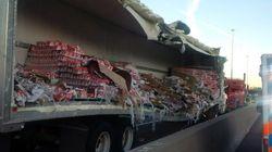 Truck Carrying Yogurt Spills All Over Toronto