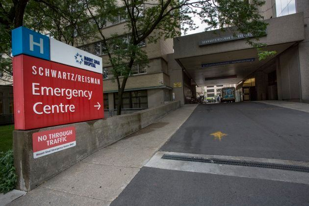 File photo of Mount Sinai Hospital's emergency entrance on University Avenue in Toronto.