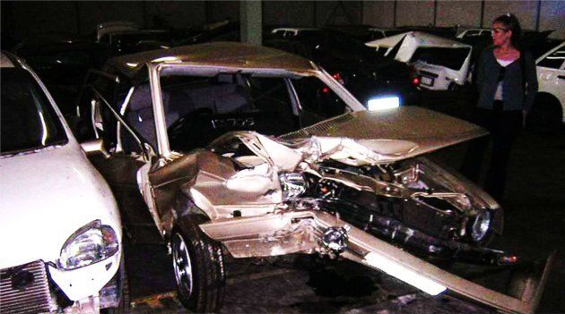 The car that Vanessa Carter was riding in at the time of the accident, taken in 2004 to show the damage.