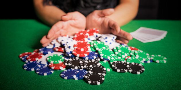 Poker player going all