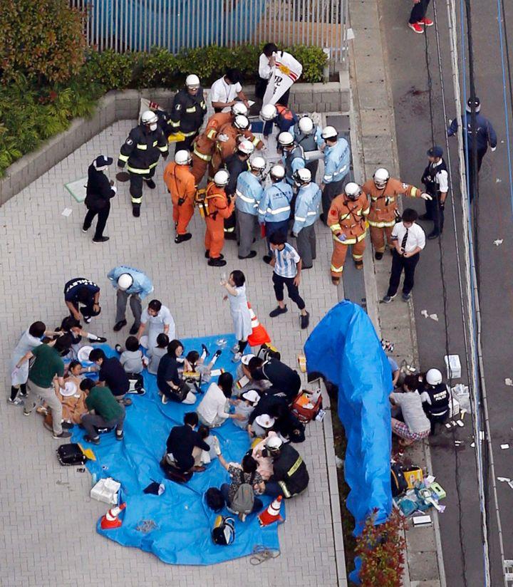 Scene of the knife attack in Kawasaki City, Japan, on May 28, 2019.