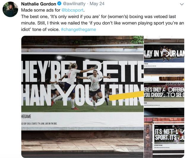 A screenshot of Nathalie Gordon's now-deleted tweet about the BBC Sport