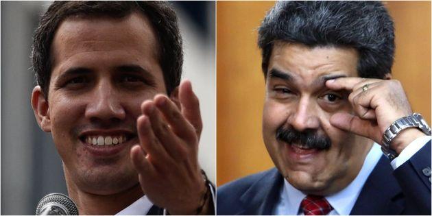 Juan Guaidó y Nicolas Maduro, en sendas imágenes de
