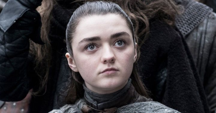 Maisie in character as Arya Stark