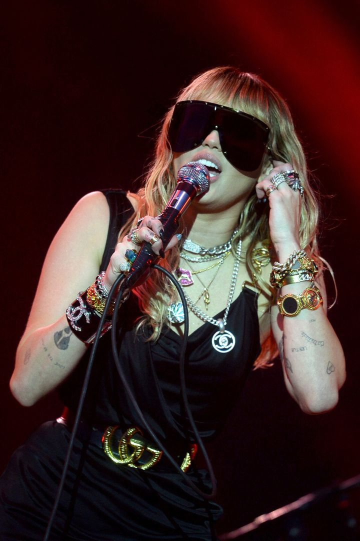 A shot of Cyrus' jewelry during her performance on May 25 at the Radio 1 Big Weekend in Middlesbrough, England.