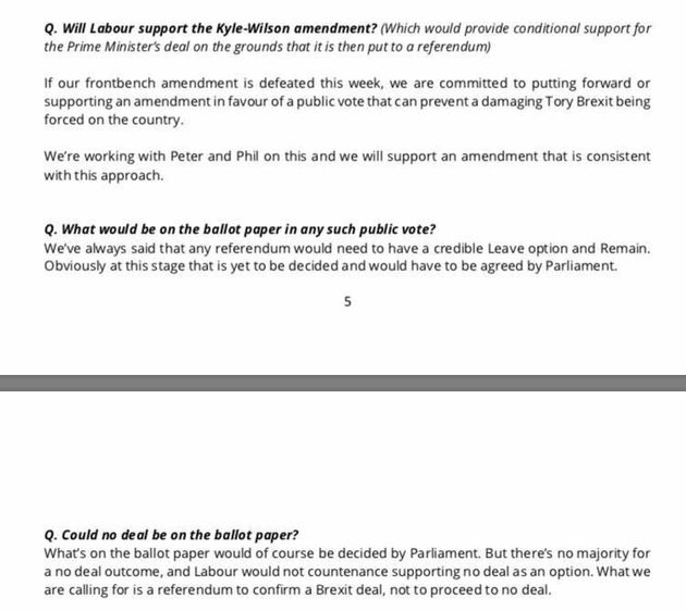 A private briefing note sent to Labour