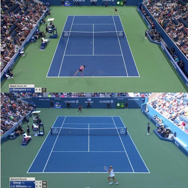 Le changement de position de la caméra sur le court Louis Armstrong avant (photo du haut) et après...