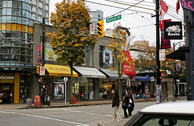 Retail locations near the corner of Robson at Burrard streets in downtown