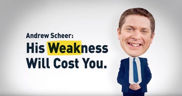 A screengrab of an Engage Canada attack ad targeting Conservative Leader Andrew