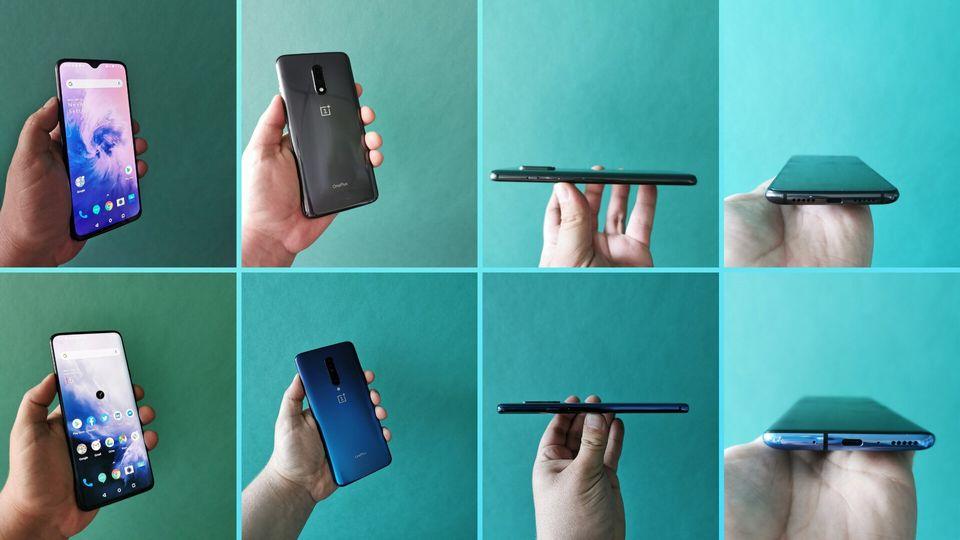 Le design du OnePlus 7 (en haut, de gauche à droite) et du OnePlus 7 Pro (en bas, de gauche à