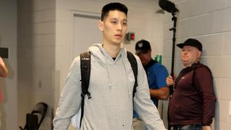 MILWAUKEE, WI - MAY 23: Jeremy Lin #17 of the Toronto Raptors arrives to the arena prior to Game Five of the Eastern Conference Finals of the 2019 NBA Playoffs against the Milwaukee Bucks on May 23, 2019 at the Fiserv Forum Center in Milwaukee, Wisconsin. NOTE TO USER: User expressly acknowledges and agrees that, by downloading and or using this Photograph, user is consenting to the terms and conditions of the Getty Images License Agreement. Mandatory Copyright Notice: Copyright 2019 NBAE (Photo by Nathaniel S. Butler/NBAE via Getty Images).