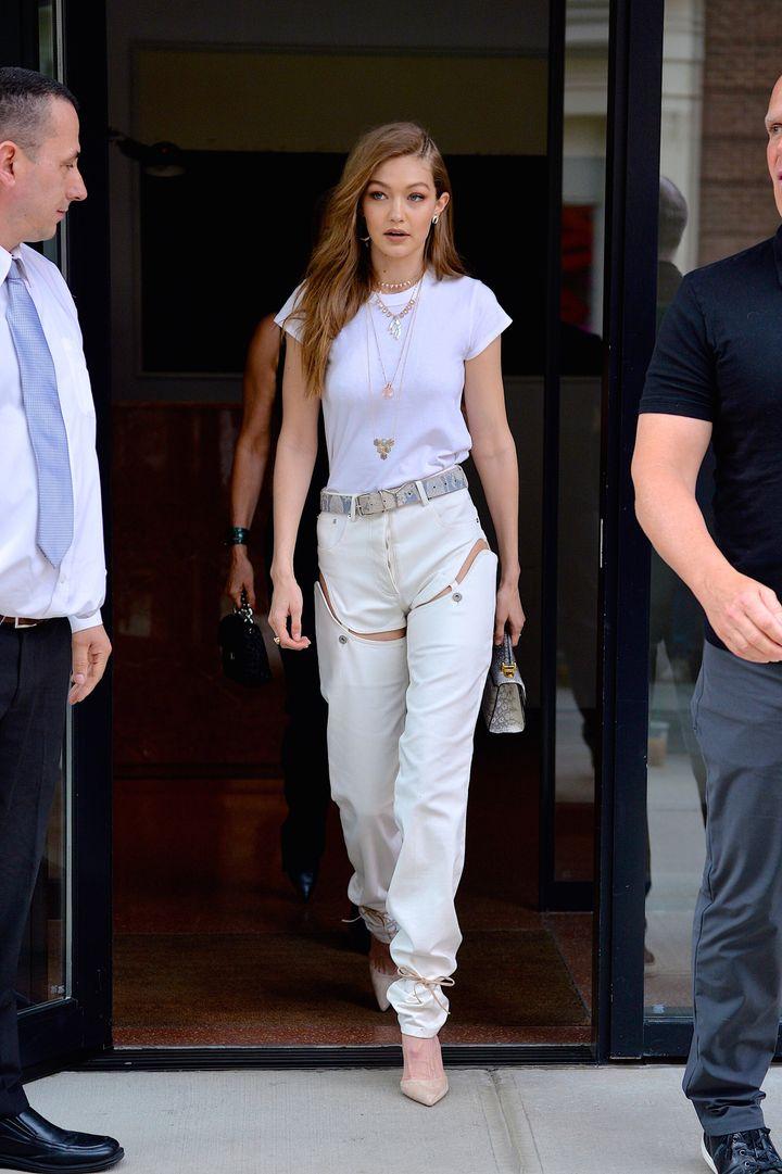 Gigi Hadid wears detachable jeans by Y/Project in 2017.