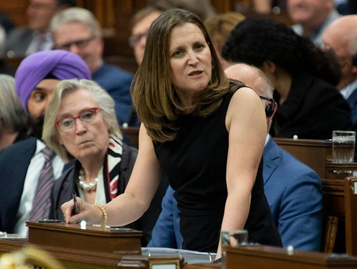 Foreign Affairs MinisterChrystiaFreeland responds to a question in the House of Commons on May 27, 2019.