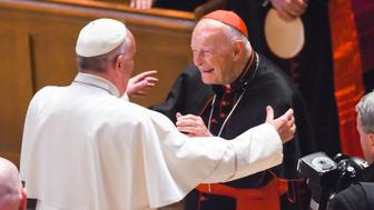 WASHINGTON, DC - SEPTEMBER, 23:  Pope Francis reaches out to hug Cardinal Archbishop emeritus Theodore McCarrick after  the Midday Prayer of the Divine with more than 300 U.S. Bishops at the Cathedral of St. Matthew the Apostle on September 23, 2015 in Washington, DC. (Jonathan Newton / The Washington Post via Getty Images)