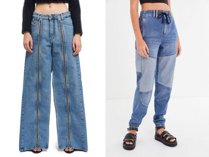 "Left: <a href=""https://www.openingceremony.com/womens/diesel-red-tag-x-shayne-oliver/ultimate-wide-leg-jean-ST209035.html"" target=""_blank"" rel=""noopener noreferrer"">Diesel Red Tag x Shayne Oliver jeans</a>, $155; right: <a href=""https://www.urbanoutfitters.com/shop/bdg-faust-two-tone-jogger-jean"" target=""_blank"" rel=""noopener noreferrer"">BDG two-tone jogger jeans</a>, $69."