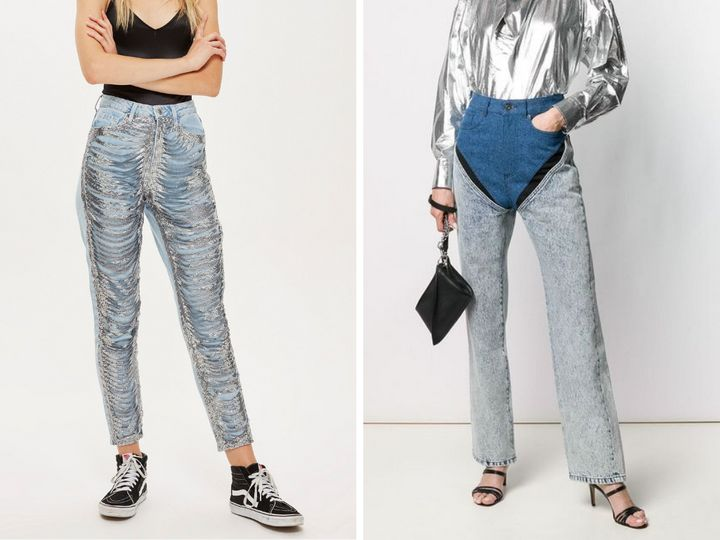 "Left: <a href=""https://us.topshop.com/en/tsus/product/jeans-6877061/shop-all-jeans-6906725/bleach-chain-mom-jeans-8029829"" target=""_blank"" rel=""noopener noreferrer"">Topshop bleach chain mom jeans</a>, $70; right: <a href=""https://www.farfetch.com/ca/shopping/women/yproject-two-tone-reconstructed-jeans-item-13861691.aspx?storeid=9838"" target=""_blank"" rel=""noopener noreferrer"">Y/Project two-tone reconstructed jeans</a>, $658."