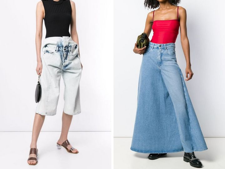"Left: <a href=""https://www.farfetch.com/ca/shopping/women/yproject-pop-up-denim-shorts-item-13985536.aspx?storeid=9766"" target=""_blank"" rel=""noopener noreferrer"">Y/Project pop-up denim shorts</a>, $804; right: <a href=""https://www.farfetch.com/ca/shopping/women/yproject-deconstructed-skirt-jeans-item-13933815.aspx?storeid=9671"" target=""_blank"" rel=""noopener noreferrer"">Y/Project deconstructed skirt jeans</a>, $550."