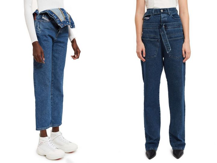 "Left: <a href=""https://www.openingceremony.com/womens/diesel-red-tag-by-glenn-martens/high-waist-straight-jeans-w_-side-snap-ST211539.html?gender=w"" target=""_blank"" rel=""noopener noreferrer"">Diesel Red Tag by Glenn Martens side-snap high-waist jeans</a>, $248; right: <a href=""https://www.openingceremony.com/womens/diesel-red-tag-x-shayne-oliver/embedded-belt-jean-ST209029.html"" target=""_blank"" rel=""noopener noreferrer"">Diesel Red Tag X Shayne Oliver embedded belt jean</a>, $123."