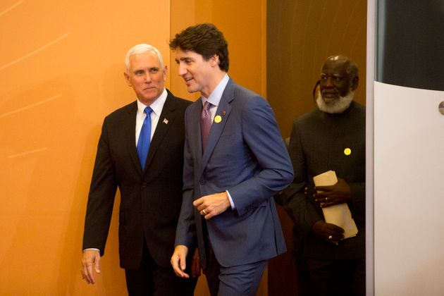 U.S. Vice President Mike Pence and Prime Minister Justin Trudeau during VIII Summit of The Americas in...