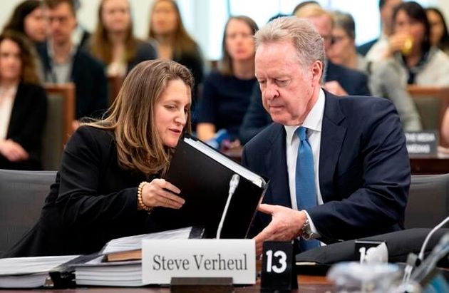 Foreign Affairs Minister Chrystia Freeland with Steve Verheul, Canada's chief negotiator for NAFTA in...